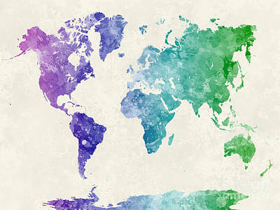 Globe Painting - World Map In Watercolor Multicolored by Pablo Romero
