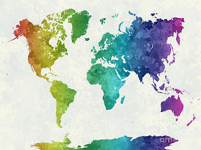 Globe Painting - World Map In Watercolor Rainbow by Pablo Romero