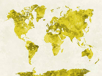 Globe Painting - World Map In Watercolor Yellow by Pablo Romero