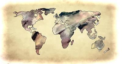 Photograph - World Map Yellow Toned by Athena Mckinzie