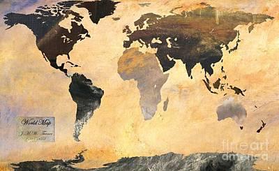 World Map   Turner 1 Art Print by John Clark