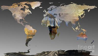 Temeraire Painting - World Map  Joseph Turner 2 by John Clark