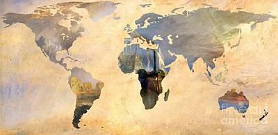 World Map  Joseph Turner 5 Art Print by John Clark