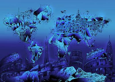 Paris Painting - World Map Landmark Blue by Bekim Art