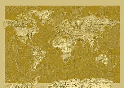 Paris Painting - World Map Landmark Collage 10 by Bekim Art