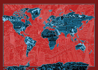 Map Of Canada Digital Art - World Map Landmark Collage 11 by Bekim Art