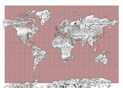 Globe Painting - World Map Landmark Collage 2 by Bekim Art