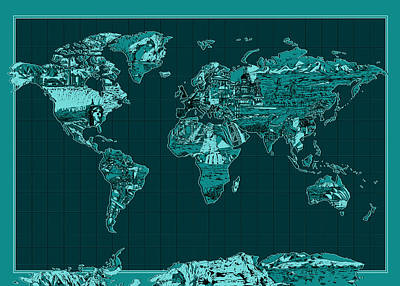 Globe Painting - World Map Landmark Collage 4 by Bekim Art