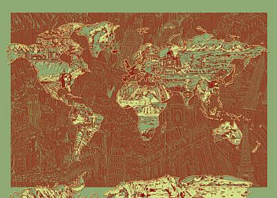 Map Of Canada Digital Art - World Map Landmark Collage 7 by Bekim Art
