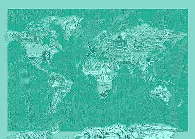 Painting - World Map Landmark Collage Green by Bekim Art