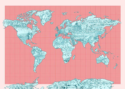 America The Continent Digital Art - World Map Landmark Collage by Bekim Art