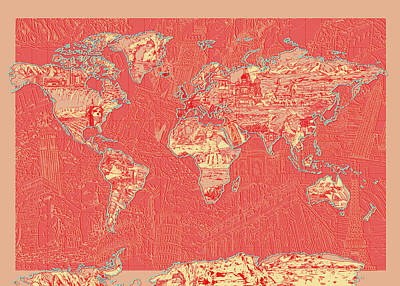Paris Painting - World Map Landmark Collage Red by Bekim Art