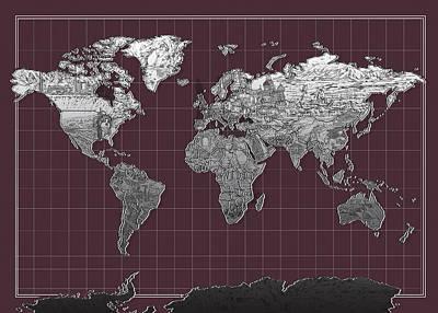 Paris Painting - World Map Landmark Purple by Bekim Art