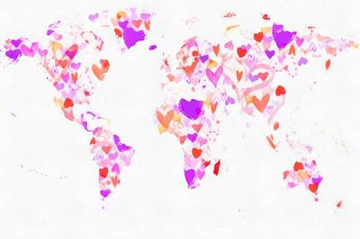 Painting - World Map Love Hearts by Eti Reid