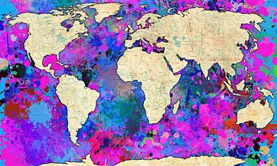 Panoramic Digital Art - World Map Magenta by Gary Grayson