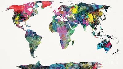 Flags Painting - World Map by Mike Maher