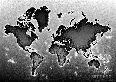 World Map Novo In Black And White Art Print by Eleven Corners