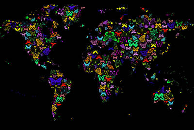 Digital Art - World Map Neon Butterflies On Black by Eti Reid