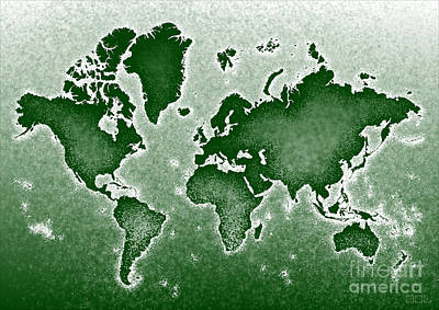 World Map Novo In Green Art Print by Eleven Corners