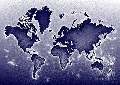 World Map Novo In Blue Art Print by Eleven Corners