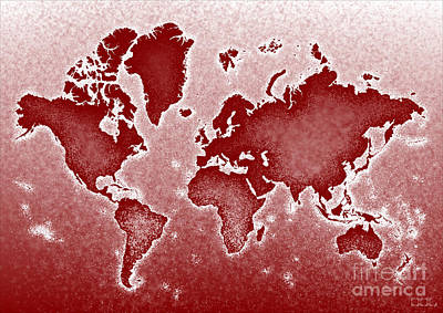 World Map Novo In Red Art Print by Eleven Corners