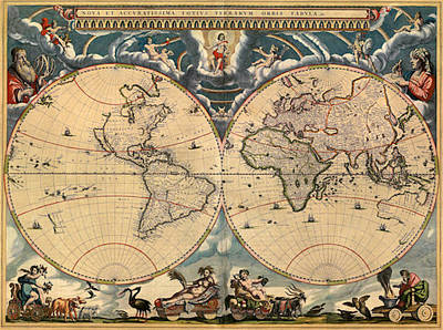 East India Painting - World Map Of 1664 by Joan Blaeu