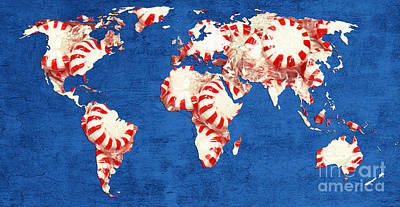 Andee Design Red Photograph - World Map Of Peppermints by Andee Design