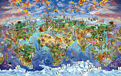 Tourist Attraction Painting - World Map Of World Wonders by Maria Rabinky