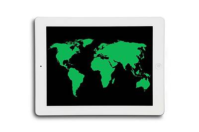 World Map On A Digital Tablet Art Print