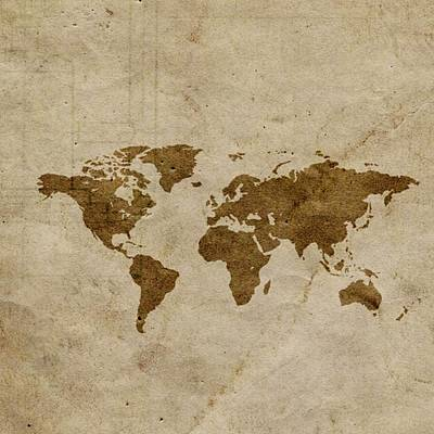 Photograph - World Map On Papyrus Paper by Florene Welebny