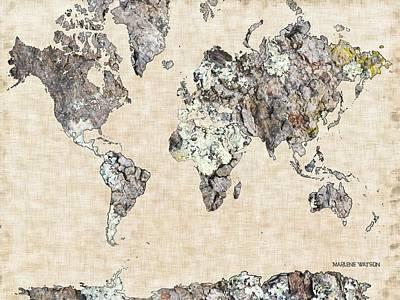 Rock The World Digital Art - World Map Organic 1 by Marlene Watson