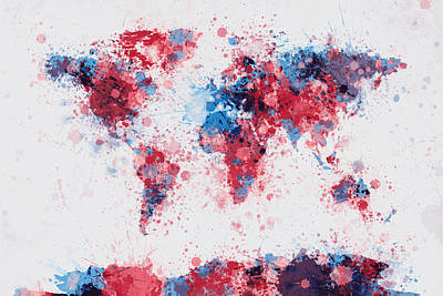 World Map Paint Splashes Art Print