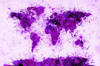 World Map Paint Splashes Purple Art Print by Michael Tompsett