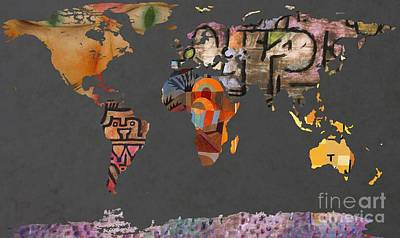 Geography Digital Art - Paul Klee 1  World Map by John Clark