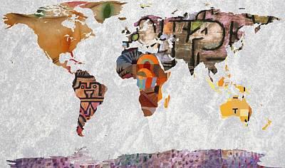 German Map Digital Art - World Map  Paul Klee 2 by John Clark