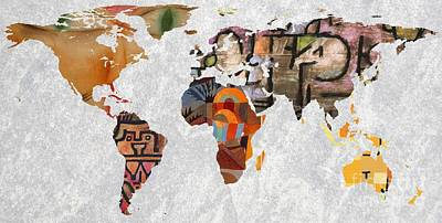 Geography Digital Art - World Map   Paul Klee 3 by John Clark