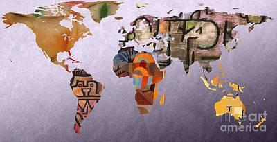 German Map Digital Art - World Map  Paul Klee 5 by John Clark