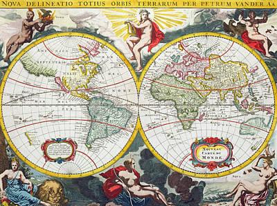 Territorial Painting - World Map by Pieter Van der Aa