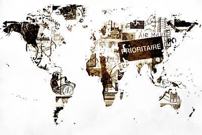 World Map Post Stamps Art Print by Eti Reid