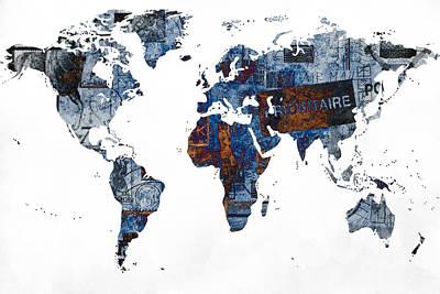 World Map Post Stamps Grunge Blueprint Art Print by Eti Reid