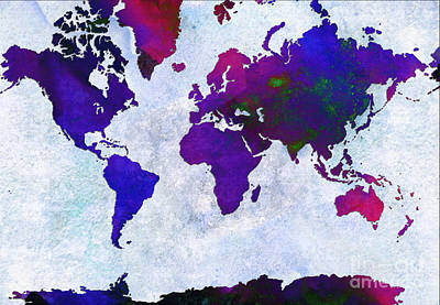 World Of Design Mixed Media - World Map - Purple Flip The Light Of Day - Abstract - Digital Painting 2 by Andee Design