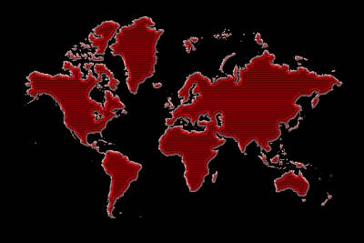 Photograph - World Map Red Grid by Andrew Fare