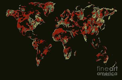 Relief Map Digital Art - World Map Red Pop by Dragica  Micki Fortuna