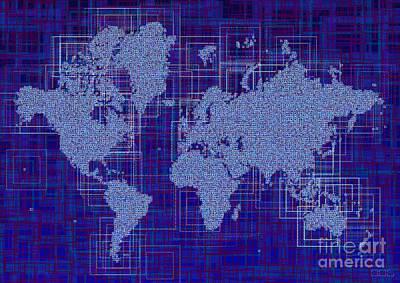 World Map Rettangoli In Blue And White Art Print by Eleven Corners