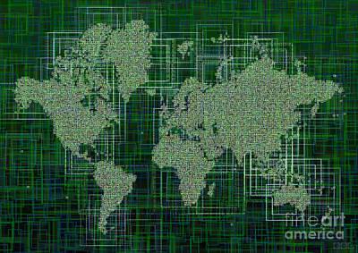 World Map Rettangoli In Green And White Art Print by Eleven Corners