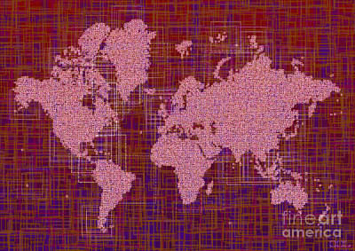 World Map Rettangoli In Pink Red And Purple Art Print by Eleven Corners
