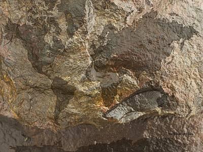 Rock The World Digital Art - World Map Rock Face 1 by Marlene Watson