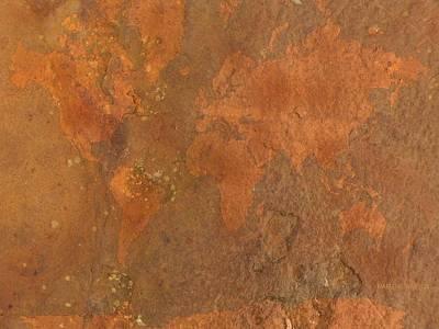 Rock The World Digital Art - World Map Rust 1 by Marlene Watson