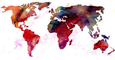 Photograph - World Map Splash by Athena Mckinzie