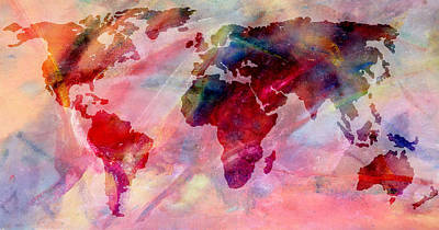 Photograph - World Map Splash Of Color by Athena Mckinzie